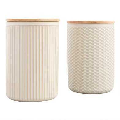 white canisters with lids