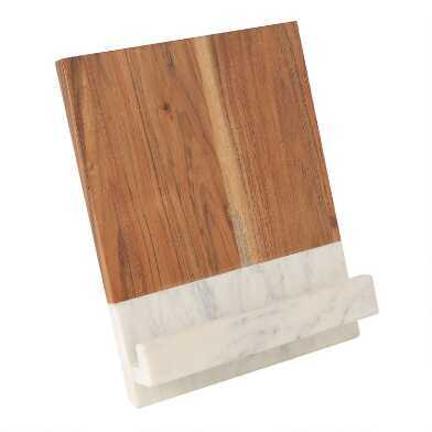 marble and wood tablet stand