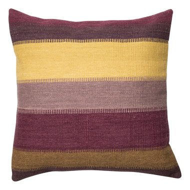 striped yellow and purple pillow